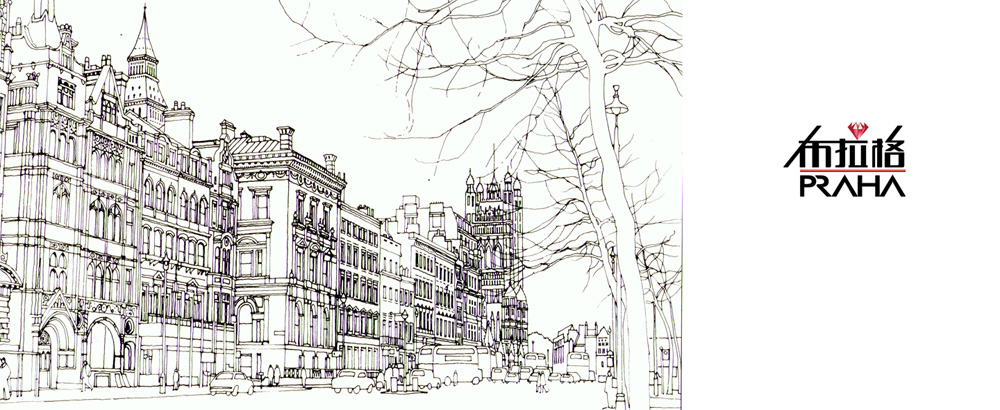 欧式别墅外观手绘线稿